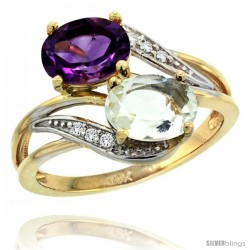 14k Gold ( 8x6 mm ) Double Stone Engagement Purple & Green Amethyst Ring w/ 0.07 Carat Brilliant Cut Diamonds & 2.34 Carats