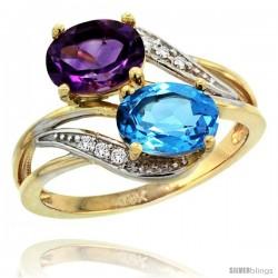14k Gold ( 8x6 mm ) Double Stone Engagement Amethyst & Swiss Blue Topaz Ring w/ 0.07 Carat Brilliant Cut Diamonds & 2.34 Carats