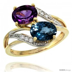 14k Gold ( 8x6 mm ) Double Stone Engagement Amethyst & London Blue Topaz Ring w/ 0.07 Carat Brilliant Cut Diamonds & 2.34