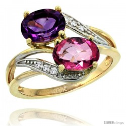 14k Gold ( 8x6 mm ) Double Stone Engagement Amethyst & Pink Topaz Ring w/ 0.07 Carat Brilliant Cut Diamonds & 2.34 Carats Oval