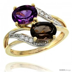 14k Gold ( 8x6 mm ) Double Stone Engagement Amethyst & Smoky Topaz Ring w/ 0.07 Carat Brilliant Cut Diamonds & 2.34 Carats Oval