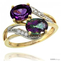 14k Gold ( 8x6 mm ) Double Stone Engagement Amethyst & Mystic Topaz Ring w/ 0.07 Carat Brilliant Cut Diamonds & 2.34 Carats