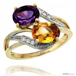 14k Gold ( 8x6 mm ) Double Stone Engagement Amethyst & Citrine Ring w/ 0.07 Carat Brilliant Cut Diamonds & 2.34 Carats Oval Cut