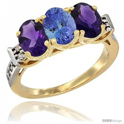 10K Yellow Gold Natural Tanzanite & Amethyst Sides Ring 3-Stone Oval 7x5 mm Diamond Accent