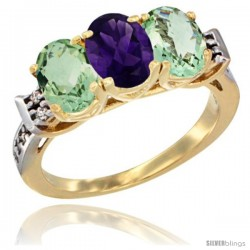 10K Yellow Gold Natural Amethyst & Green Amethyst Sides Ring 3-Stone Oval 7x5 mm Diamond Accent