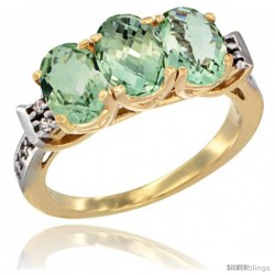 10K Yellow Gold Natural Green Amethyst Ring 3-Stone Oval 7x5 mm Diamond Accent