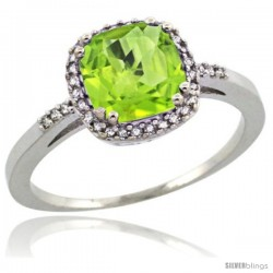 Sterling Silver Diamond Natural Peridot Ring 1.5 ct Checkerboard Cut Cushion Shape 7 mm, 3/8 in wide