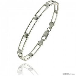 """Sterling Silver Italian Binario ( BAR ) Bracelet 7"""" and 8"""" -Style Bin20"""