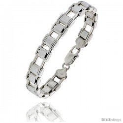 Sterling Silver Binario Bar Railroad Bracelet), 3/8 in. (9 mm) wide