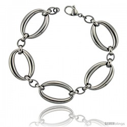 Stainless Steel Large Oval Links Bracelet, 3/4 in wide, 8.5 in long