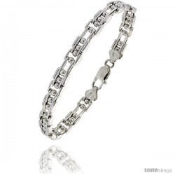 Sterling Silver Binario Bar Beaded Bracelet), 9/32 in. (7.5 mm) wide