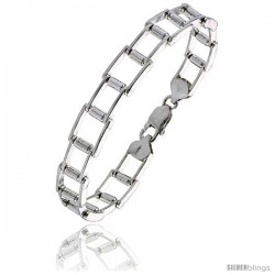 Sterling Silver Binario Bar Railroad Bracelet), 3/8 in. (10 mm) wide