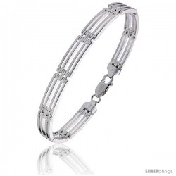 Sterling Silver Striped Binario Bar Bracelet), 9/32 in. (7.5 mm) wide
