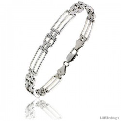 Sterling Silver Striped Binario Bar Bracelet), 9/32 in. (7.5 mm) wide -Style Bin209