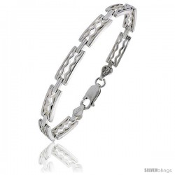 "Sterling Silver Italian Binario ( BAR ) Bracelet 7"" and 8"" -Style Bin24"