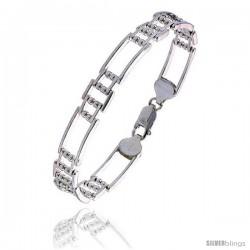 """Sterling Silver Italian Binario ( BAR ) Bracelet 7"""" and 8"""" -Style Bin25"""