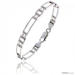 "Sterling Silver Italian Binario ( BAR ) Bracelet 7"" and 8"" -Style Bin26"
