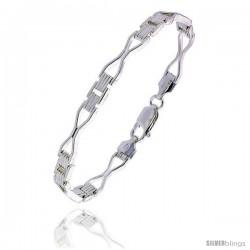 """Sterling Silver Italian Binario ( BAR ) Bracelet 7"""" and 8"""" -Style Bin27"""