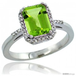 Sterling Silver Diamond Natural Peridot Ring 1.6 ct Emerald Shape 8x6 mm, 1/2 in wide -Style Cwg11129