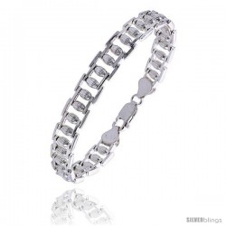 """Sterling Silver Italian Binario ( BAR ) Bracelet 7"""" and 8"""" -Style Bin30"""