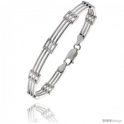 "Sterling Silver Italian Binario ( BAR ) Bracelet 7"" and 8"" -Style Bin6"