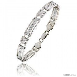 "Sterling Silver Italian Binario ( BAR ) Bracelet 7"" and 8"" -Style Bin8"