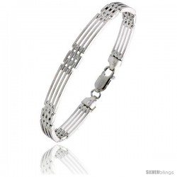 "Sterling Silver Italian Binario ( BAR ) Bracelet 7"" and 8"" -Style Bin9"