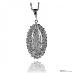 "Sterling Silver Guadalupe Pendant, 2 15/16"" (75 mm) tall"
