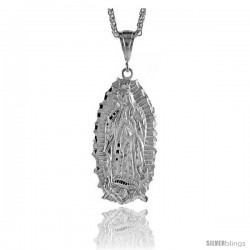 "Sterling Silver Guadalupe Pendant, 2 1/2"" (64 mm) tall"