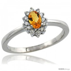 14k White Gold Diamond Halo Citrine Ring 0.25 ct Oval Stone 5x3 mm, 5/16 in wide