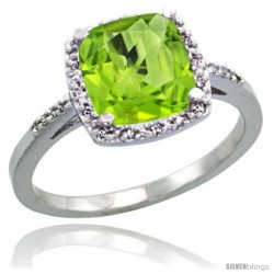Sterling Silver Diamond Natural Peridot Ring 2.08 ct Cushion cut 8 mm Stone 1/2 in wide