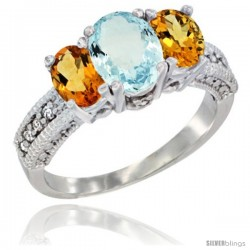 14k White Gold Ladies Oval Natural Aquamarine 3-Stone Ring with Citrine Sides Diamond Accent