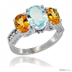 14K White Gold Ladies 3-Stone Oval Natural Aquamarine Ring with Citrine Sides Diamond Accent