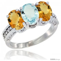 14K White Gold Natural Aquamarine & Citrine Sides Ring 3-Stone 7x5 mm Oval Diamond Accent