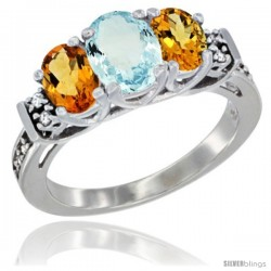 14K White Gold Natural Aquamarine & Citrine Ring 3-Stone Oval with Diamond Accent