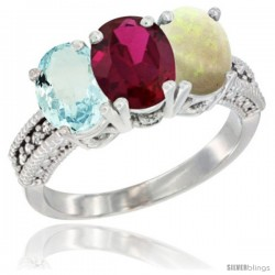 10K White Gold Natural Aquamarine, Ruby & Opal Ring 3-Stone Oval 7x5 mm Diamond Accent