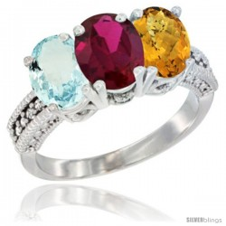 10K White Gold Natural Aquamarine, Ruby & Whisky Quartz Ring 3-Stone Oval 7x5 mm Diamond Accent