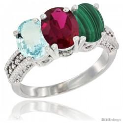 10K White Gold Natural Aquamarine, Ruby & Malachite Ring 3-Stone Oval 7x5 mm Diamond Accent