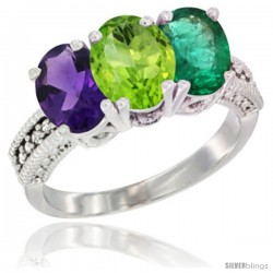 14K White Gold Natural Amethyst, Peridot & Emerald Ring 3-Stone 7x5 mm Oval Diamond Accent