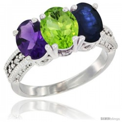 14K White Gold Natural Amethyst, Peridot & Blue Sapphire Ring 3-Stone 7x5 mm Oval Diamond Accent