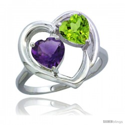 14k White Gold 2-Stone Heart Ring 6mm Natural Amethyst & Peridot Diamond Accent
