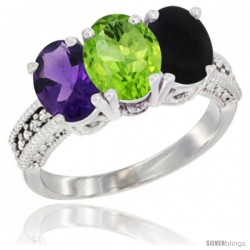14K White Gold Natural Amethyst, Peridot & Black Onyx Ring 3-Stone 7x5 mm Oval Diamond Accent