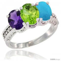 14K White Gold Natural Amethyst, Peridot & Turquoise Ring 3-Stone 7x5 mm Oval Diamond Accent