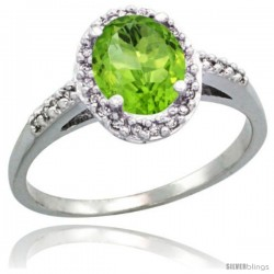 Sterling Silver Diamond Natural Peridot Ring Oval Stone 8x6 mm 1.17 ct 3/8 in wide