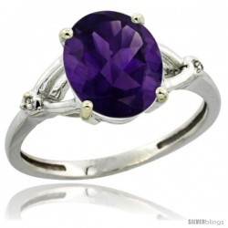 14k White Gold Diamond Amethyst Ring 2.4 ct Oval Stone 10x8 mm, 3/8 in wide