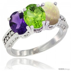 14K White Gold Natural Amethyst, Peridot & Opal Ring 3-Stone 7x5 mm Oval Diamond Accent