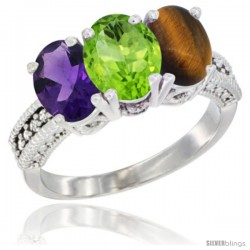 14K White Gold Natural Amethyst, Peridot & Tiger Eye Ring 3-Stone 7x5 mm Oval Diamond Accent
