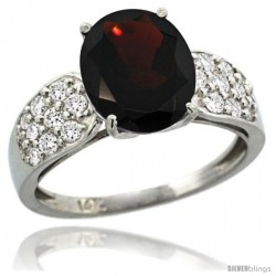 14k White Gold Natural Garnet Ring 10x8 mm Oval Shape Diamond Accent, 3/8inch wide -Style R289771w10