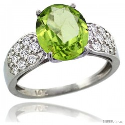 14k White Gold Natural Peridot Ring 10x8 mm Oval Shape Diamond Accent, 3/8inch wide -Style R289771w11