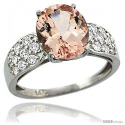 14k White Gold Natural Morganite Ring 10x8 mm Oval Shape Diamond Accent, 3/8inch wide -Style R289771w13